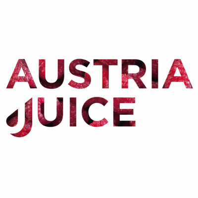 Austria Juice Brand Name In Block Letters Filled In With Raspberries