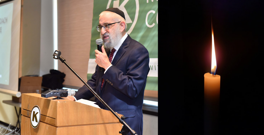 Memorial Image of OK Kosher's President Rabbi Don Yoel Levy Giving a Speech Next to an Image of a Candle