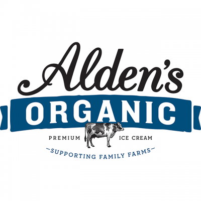 """Alden's Organic Logo: """"Alden's Organic: Premium Ice Cream: Supporting Family Farms"""" With A Picture Of A Black And White Spotted Cow"""