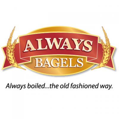 """""""Always Bagels"""" Logo On A Benner Stating """"Always Boiled...The Old Fashioned Way."""""""