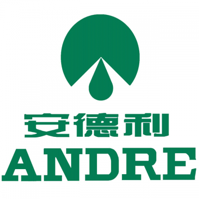 """Yantai North Andre Logo: """"ANDRE"""" With Chinese Letters Above It"""