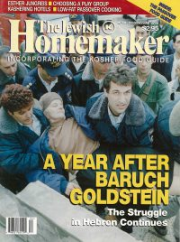 """Front Cover of """"The Jewish Homemaker"""" Magazine - Kosher Food Guide - April 1995"""