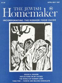 """Front Cover of """"The Jewish Homemaker"""" Magazine - Kosher Food Guide - April 1987"""