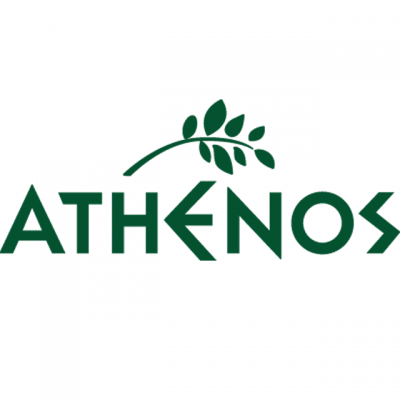 """""""Athenos"""" Logo In Green Block Letters With A Green Branch"""