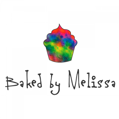 """""""Baked By Melissa"""" Logo With A Rainbow Watercolor Cupcake"""
