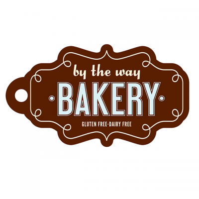 """""""By The Way Bakery: Gluten Free-Dairy Free"""" Logo On A Brown Tag"""