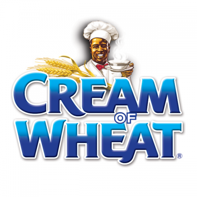 """""""Cream Of Wheat"""" Logo With A Cartoon Man In A Chef's Hat Holding A Bowl Of Soup Next To Wheat"""