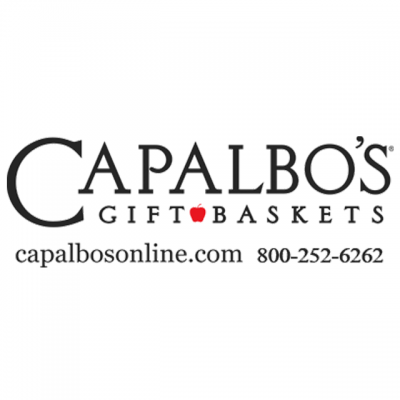"""""""Capalbos Gift Baskets"""" Logo With """"capalbosonline.com and 800-252-6262"""""""