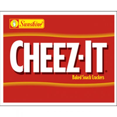 """""""Cheez-It: Baked Snack Crackers"""" Logo On A Red Background"""