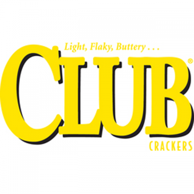 """CLUB Logo: """"Light, Flaky, Buttery...CLUB Crackers"""" In Yellow Letters"""