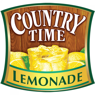 """""""Country Time Lemonade"""" Logo With A Picture Of Lemonade And Lemons Surrounding It"""