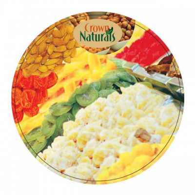 """""""Crown Naturals"""" Logo With Pictures Of Various Foods"""