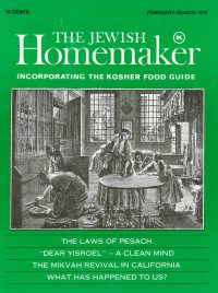 """Front Cover of """"The Jewish Homemaker"""" Magazine - Kosher Food Guide - February 1979"""
