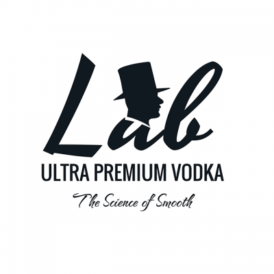 """""""Lab: Ultra Preemium Vodka: The Science Of Smooth"""" Logo With A Figure Of A Man's Head Wearing A Top Hat"""