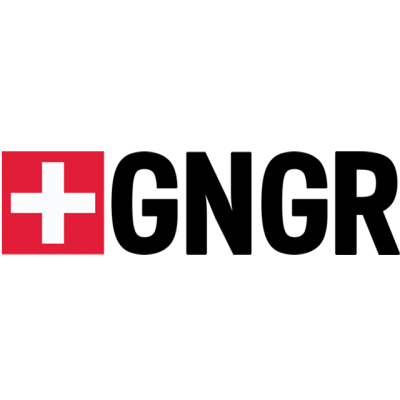 """""""GNGR"""" Logo With A White Cross In A Red Box"""