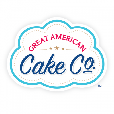 """""""Great American Cake Company"""" Logo In a Blue Lined Cloud"""