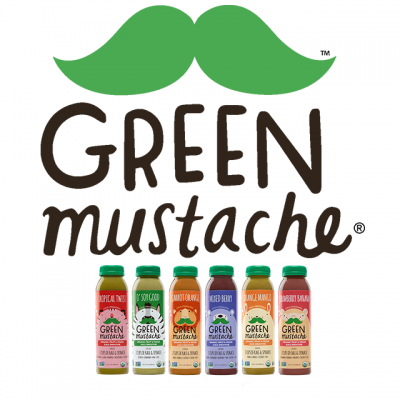 """""""Green Mustache"""" By Athena Brands, Inc. Logo With Pictures Of Various Smoothies And A Cartoon Green Mustache"""