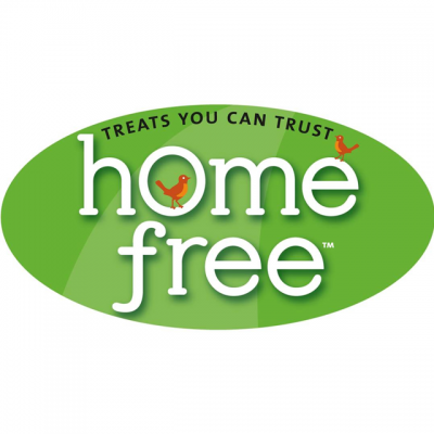 """""""Homefree: Treats You Can Trust"""" Logo With Two Red Birds"""