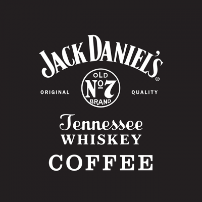 """Jack Daniel's Coffee Logo: """"Jack Daniel's Tennessee Whiskey Coffee: Original Quality, Old No. 7 Brand"""" White Letters On A Black Background"""