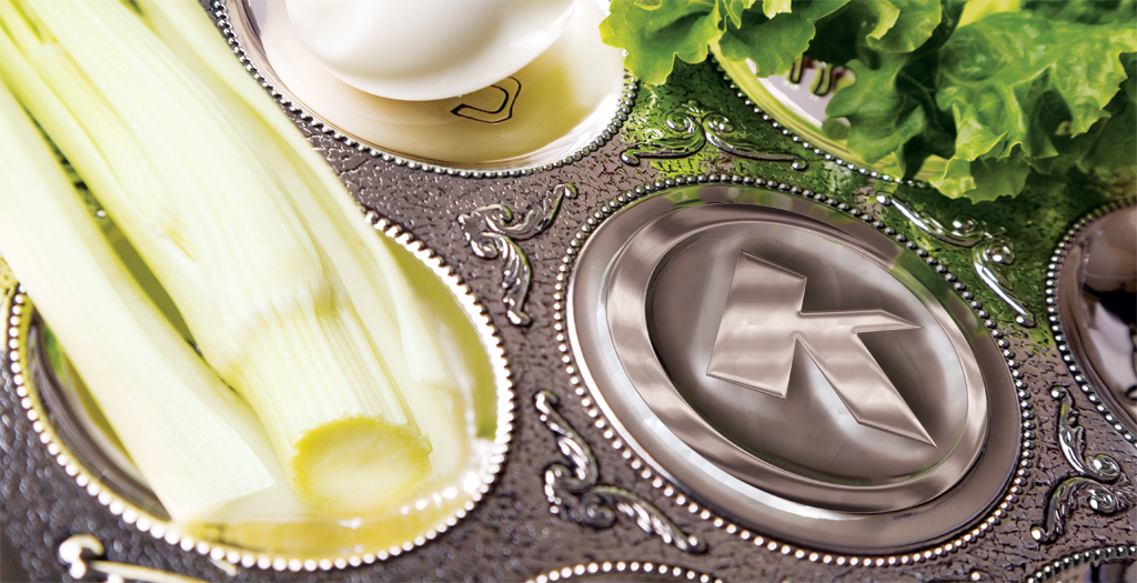 OK Kosher Logo In A Silver Platter With Various Foods