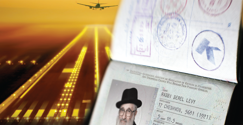 Rabbi Berel Levy's Passport With An OK Kosher Logo Stamp On It Next To A Plane Taking Off From A Runway