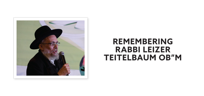 """""""Remembering Rabbi Leizer Teitelbaum OB""""M"""" With A Photograph Of Him Speaking Into A Microphone"""