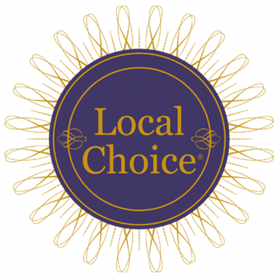 """Local Choice Spirits Logo: """"Local Choice"""" In The Center Of A Flower-Like Diagram"""