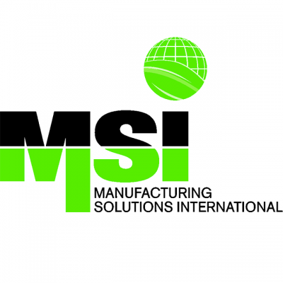 """""""MSI: Manufacturing Solutions International"""" Logo With A Green Globe"""
