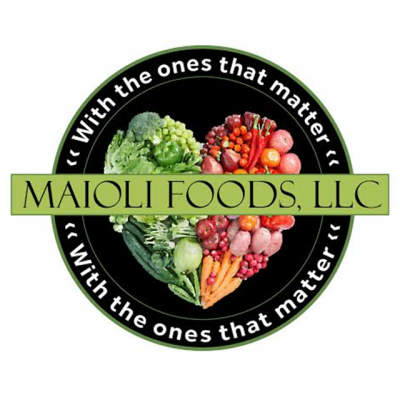 """""""Maioli Foods, LLC"""" Logo Over A Picture Of Various Foods In The Shape Of A Heart And The Words """"With The Ones That Matter"""" Encircling It"""
