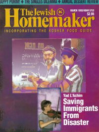 """Front Cover of """"The Jewish Homemaker"""" Magazine - Saving Immigrants From Disaster - March 1993"""