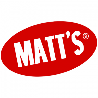"""Matt's Cookies Logo: """"Matt's"""" In White Letters With A Red Background"""