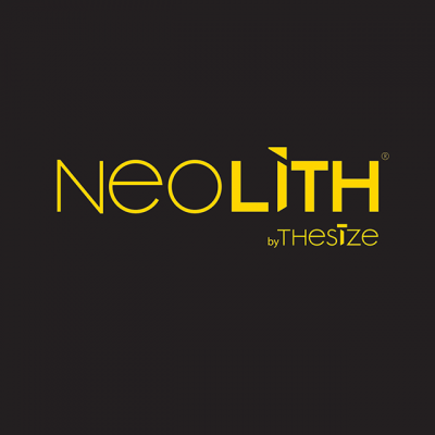 """""""Neolith By TheSize"""" Logo In Orange Letters Over A Black Background"""