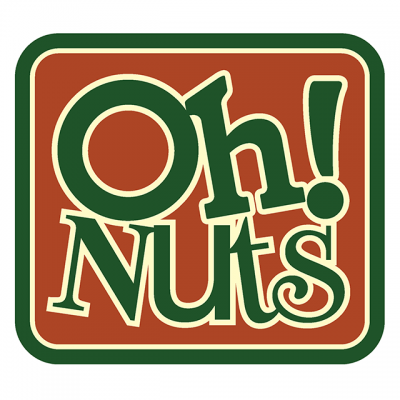 """""""Oh! Nuts"""" Logo With Green Letters In A Red Box"""