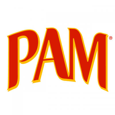 """Pam Cooking Spray Logo: """"PAM"""" In Large Red Letters"""