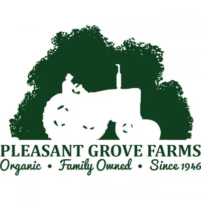 """""""Pleasant Grove Farms: Organic, Family Owned, Since 1946"""" Logo With A Drawing Of A Man On A Tractor"""