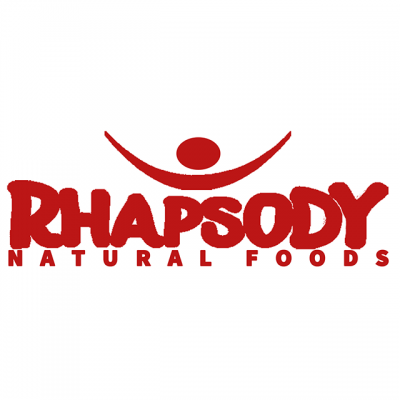 """""""Rhapsody Natural Foods"""" Logo In Red Bubble Letters"""