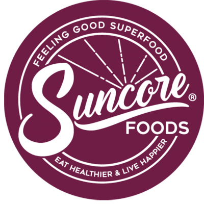 """""""Suncore Foods: Feeling Good Superfood, Eat Healthier & Live Happier"""" Logo In A Purple Circle"""