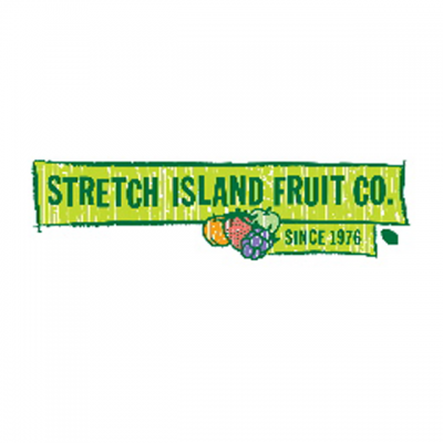 """""""Stretch Island Fruit Co. Since 1976"""" Logo With A Drawing Of Various Fruit"""
