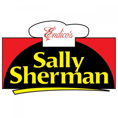 """""""Endico's: Sally Sherman"""" Logo With A Cartoon Chef's Hat On Top"""