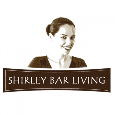 """""""Shirley Bar"""" Logo With A Drawing Of A Woman Smiling"""