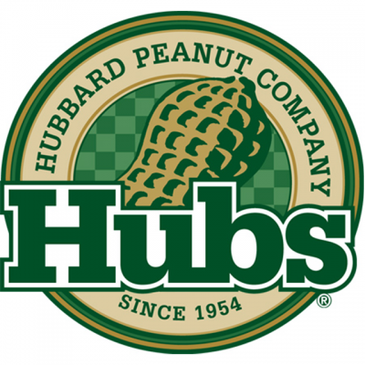 """""""Hubs: Hubbard Peanut Company Since 1954"""" Logo With A Drawing Of A Peanut In The Center"""