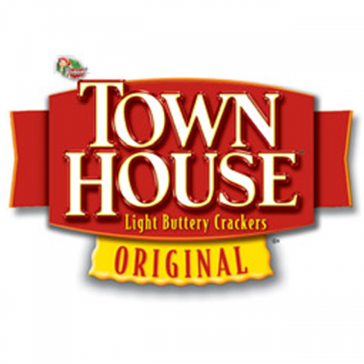 """""""Town House: Original Light Buttery Crackers"""" Logo On A Red Banner"""