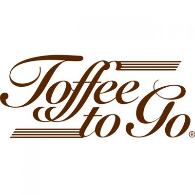 """""""Toffee To Go"""" Logo In Brown Lettered Cursive"""
