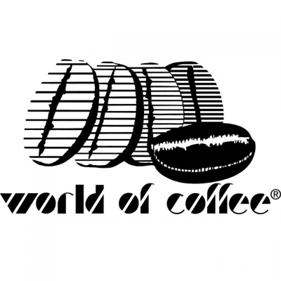 """""""World Of Coffee"""" Logo With 5 Drawn Coffee Beans"""