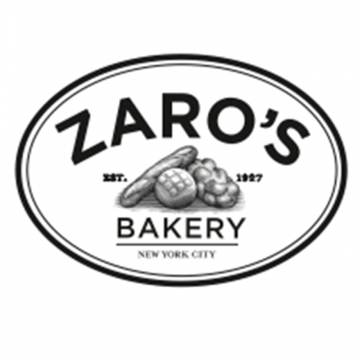 """""""Zaro's Bakery: Est. 1927 - New York City"""" Logo With Drawings of Bread In The Center"""