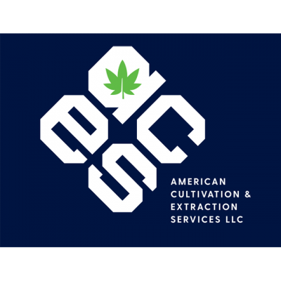 """American Cultivation & Extraction Servicies LLC Logo: """"ACES"""" With A Leaf As The Center Of The A"""