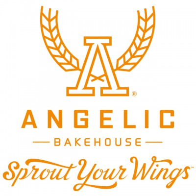 """Angelic Bakehouse Logo: """"Angelic Bakehouse - Sprout Your Wings"""" With An 'A' With Wings"""