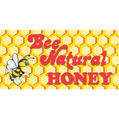 Logo for Bee Natural Honey, showing a bee character in front of a honey comb illustration and stylized, red lettering.
