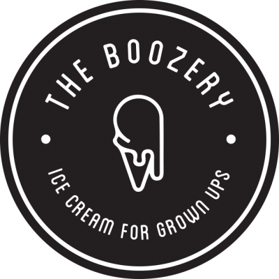 """""""The Boozery"""" Logo With """"Ice Cream For Grown Ups"""" And An Ice Cream Cone In The Center"""