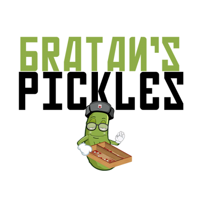 """""""Bratan's Pickles"""" Logo With An Animated, Smiling Pickle Waving"""